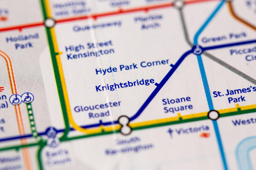 Knightsbridge Station on a map of the Piccadilly metro line in London, UK
