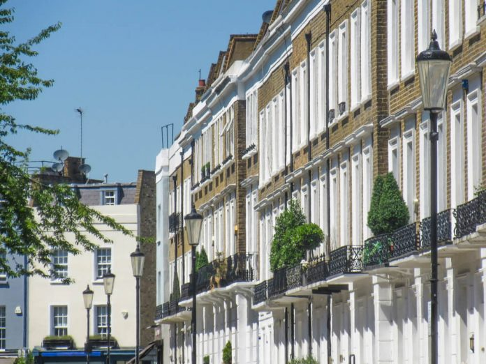 Upmarket residential street in Knightsbridge area of west London