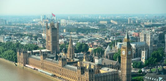 London Westminster rooftop view panorama with urban architectures