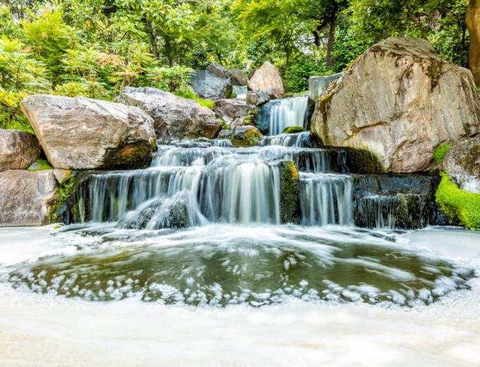 Japanese Garden in Holland Park with Zen Lake Pond Waterfall