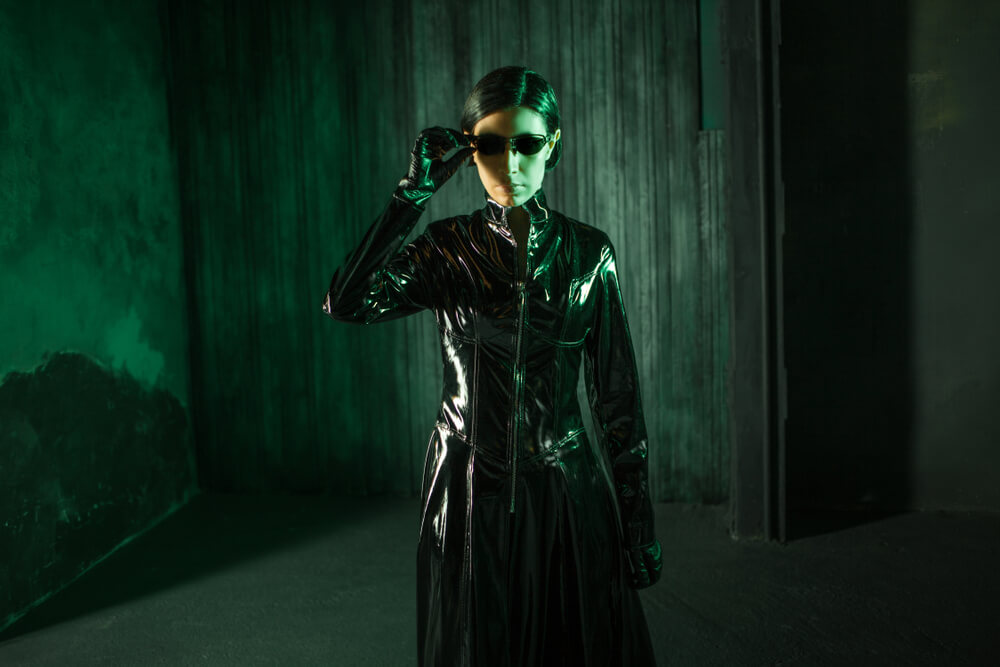 Young woman in matrix style
